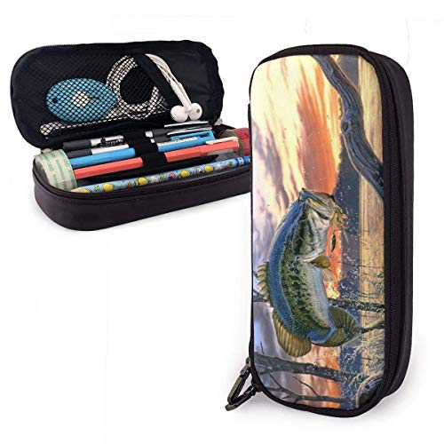 shenguang Bass Fishing Cute Pen Pencil Case Leder 8 x 3,5 x 1,5 Zoll Beutel Bag Pencil Case mit doppeltem Reißverschluss Halter Box für Schulbüro Mädchen Jungen Erwachsene