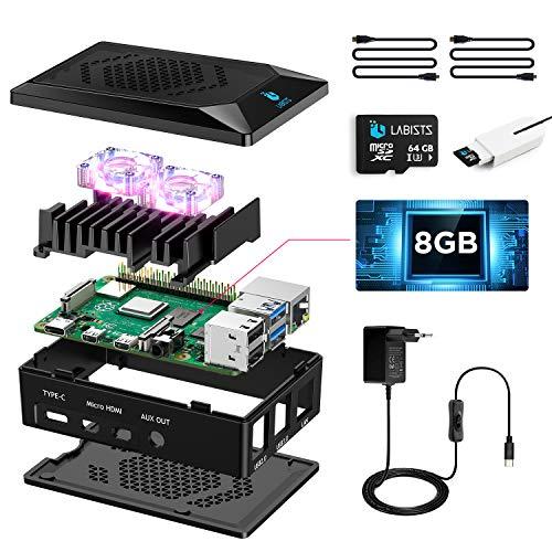 LABISTS Raspberry Pi 4 Model B 8GB RAM Starter Kit, RPi Barebone mit MicroSD 128GB, Typ C Netzteil 5.1V 3A, Lüfter, 2 Micro HDMI, Raspberry Pi 4 Schutzgehäuse schwarz und Kartenleser