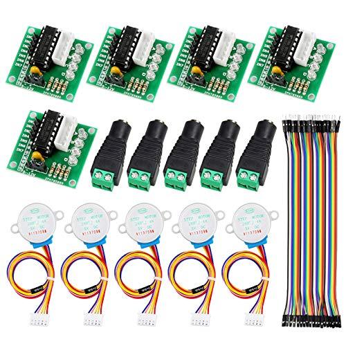 YXPCARS 5 Stk. 28BYJ-48 Motor Schrittmotor ULN2003 5V Treiberplatine mit Stecker Adapter Terminalblock, 40pin Steckerkabe für Arduino