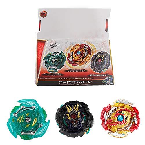 YMMONLIA Kampfkreisel Set, 3 Stück Gyro Burst Starter Set 4D Modell Metall Masters Speed Kreisel für Kinder Spielzeug mit Arena für Kindertag, Ostern, Weihnachten, Geburtstag (3 Stück)