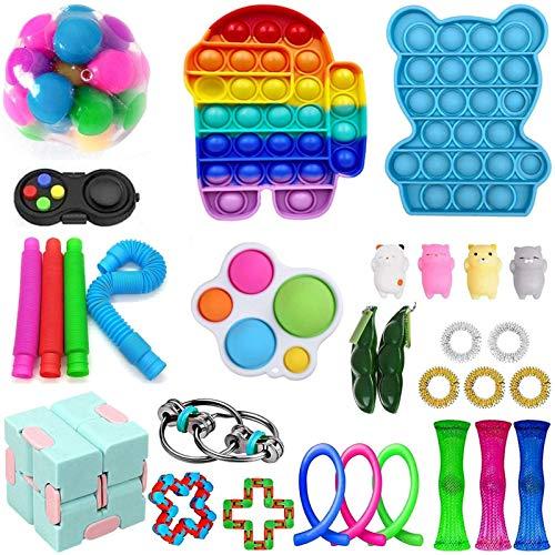 Rpporm Fidget Toys Lustige Drücken eine Bohne Sojabohne Schlüsselanhänger Anhänger Zappeln Spielzeug Set Stress Squeeze Spielzeug Entlastende Niedlich Toy (A3-30PC, Einheitsgröße)