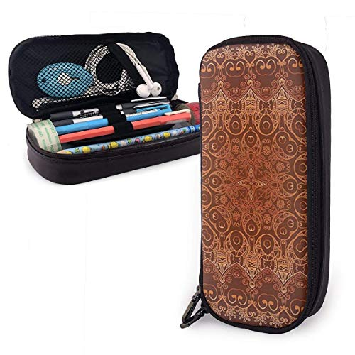 shenguang Motif2 Cute Pen Pencil Case Leder 8 x 3,5 x 1,5 Zoll Beutel Bag Pencil Case mit doppeltem Reißverschluss Halter Box für Schulbüro Mädchen Jungen Erwachsene
