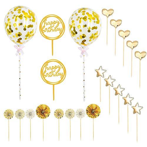 Migimi 22 Stück Gold Happy Birthday Tortendeko Geburtstag Set, Cake Topper Geburtstagstorte, Kuchendeko Geburtstag Mädchen, Deko Torte für Geburtstagsfeier Dekoration(Golden)