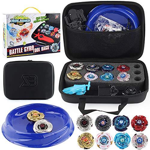 YMMONLIA 25 Stück Kampfkreisel Set, 4D Fusion Modell Metall Masters Kreisel mit Launcher, Koffer und anderem Zubehör Kinderspielzeug