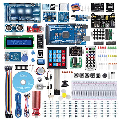 SUNFOUNDER Mega2560 Starter Kit für Arduino Ultimate Starter Kit mit 291 Elektronik Artikeln, MEGA2560 R3 Board und detailliertem 357-Seiten-Tutorial