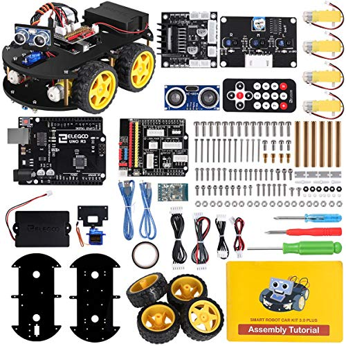 ELEGOO Smart Robot Car Kit V3.0+ Kompatibel mit Arduino IDE Elektronik Baukasten mit UNO R3 Mikrocontroller, Line Tracking Modul, Ultraschallsensor, Bluetooth-Modul, Auto Roboter Spielzeug für Kinder